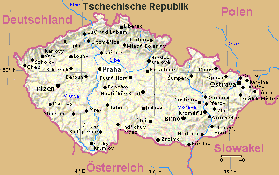 Landkarte Tschechien