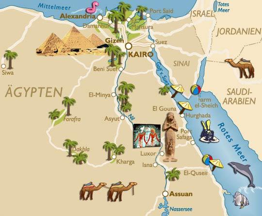 Karte Von ägypten.ägypten Sehenswürdigkeiten Karte Cheops Pyramide Abu Simbel Luxor