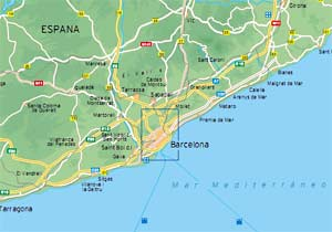 Map of Spain Barcelona